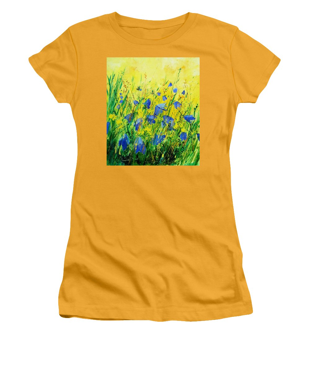 Poppies Women's T-Shirt (Athletic Fit) featuring the painting Blue Bells by Pol Ledent