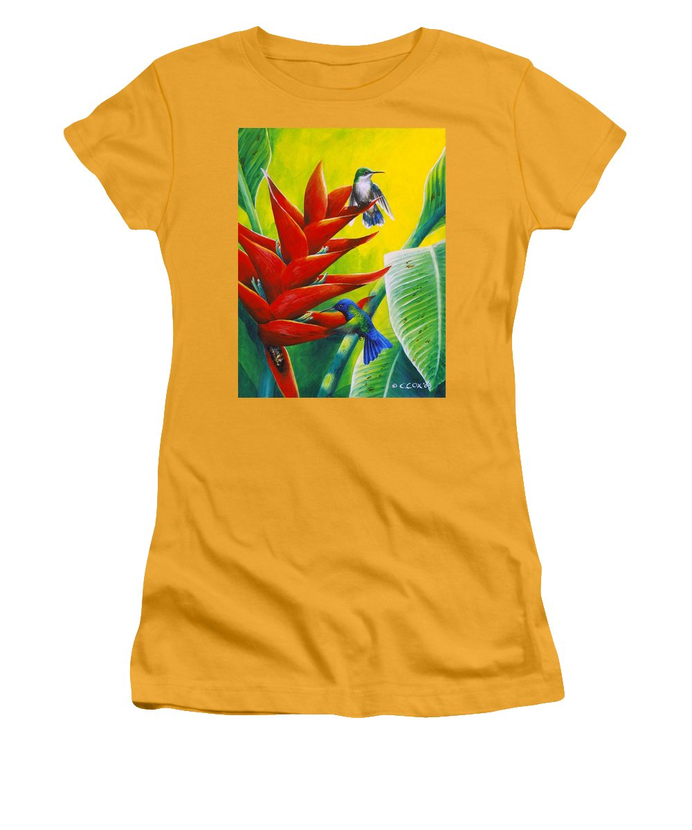 Chris Cox Women's T-Shirt (Athletic Fit) featuring the painting Blue-headed Hummingbirds And Heliconia by Christopher Cox