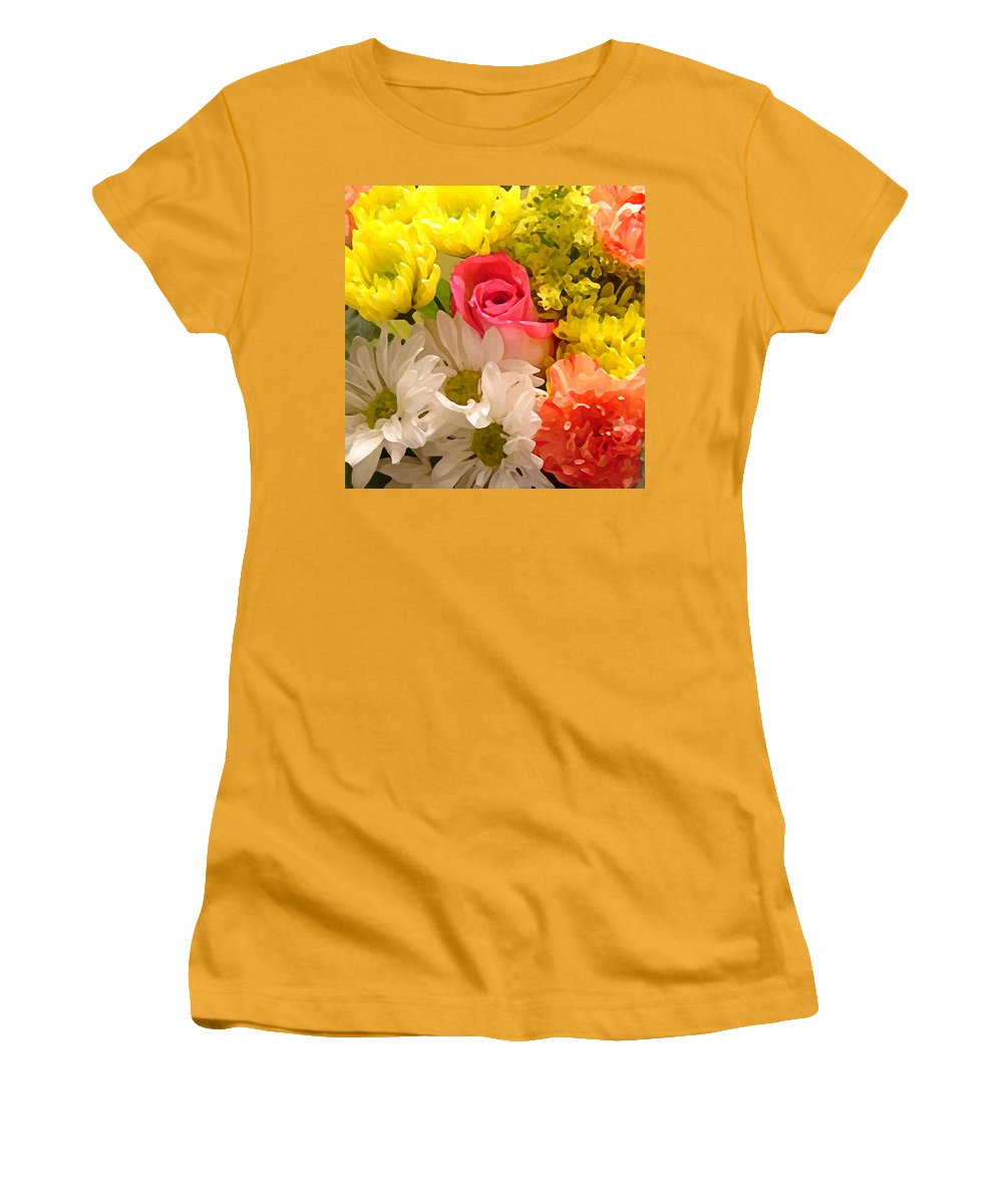 Floral Women's T-Shirt (Athletic Fit) featuring the painting Bright Spring Flowers by Amy Vangsgard