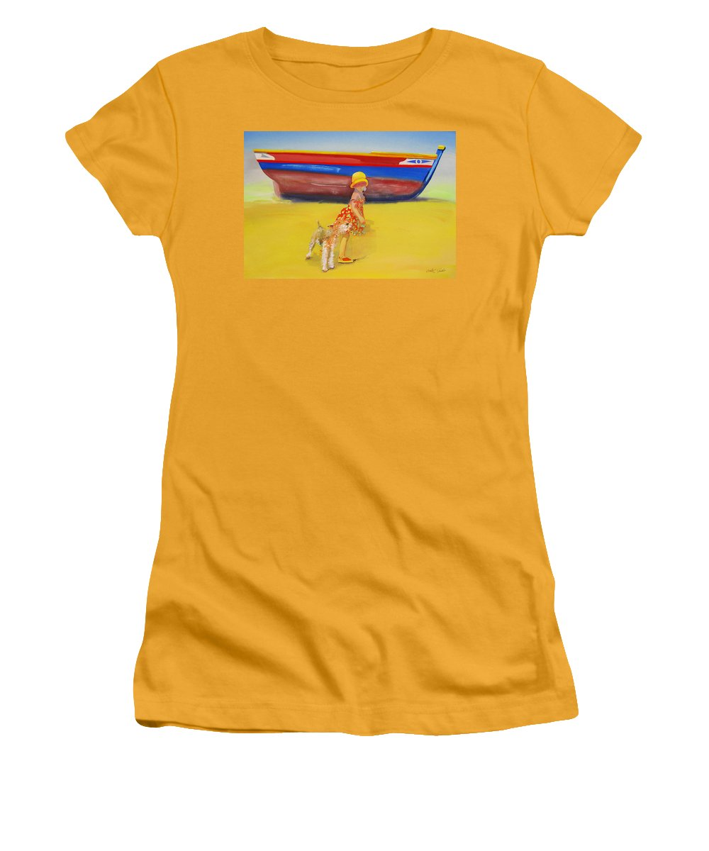 Wire Haired Fox Terrier Women's T-Shirt (Athletic Fit) featuring the painting Brightly Painted Wooden Boats With Terrier And Friend by Charles Stuart
