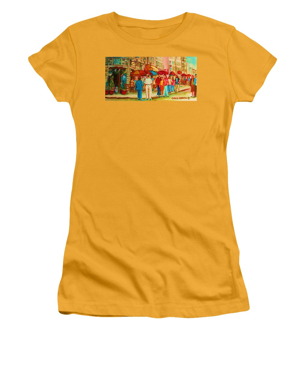 Cafe Scenes Women's T-Shirt (Athletic Fit) featuring the painting Cafe Crowds by Carole Spandau