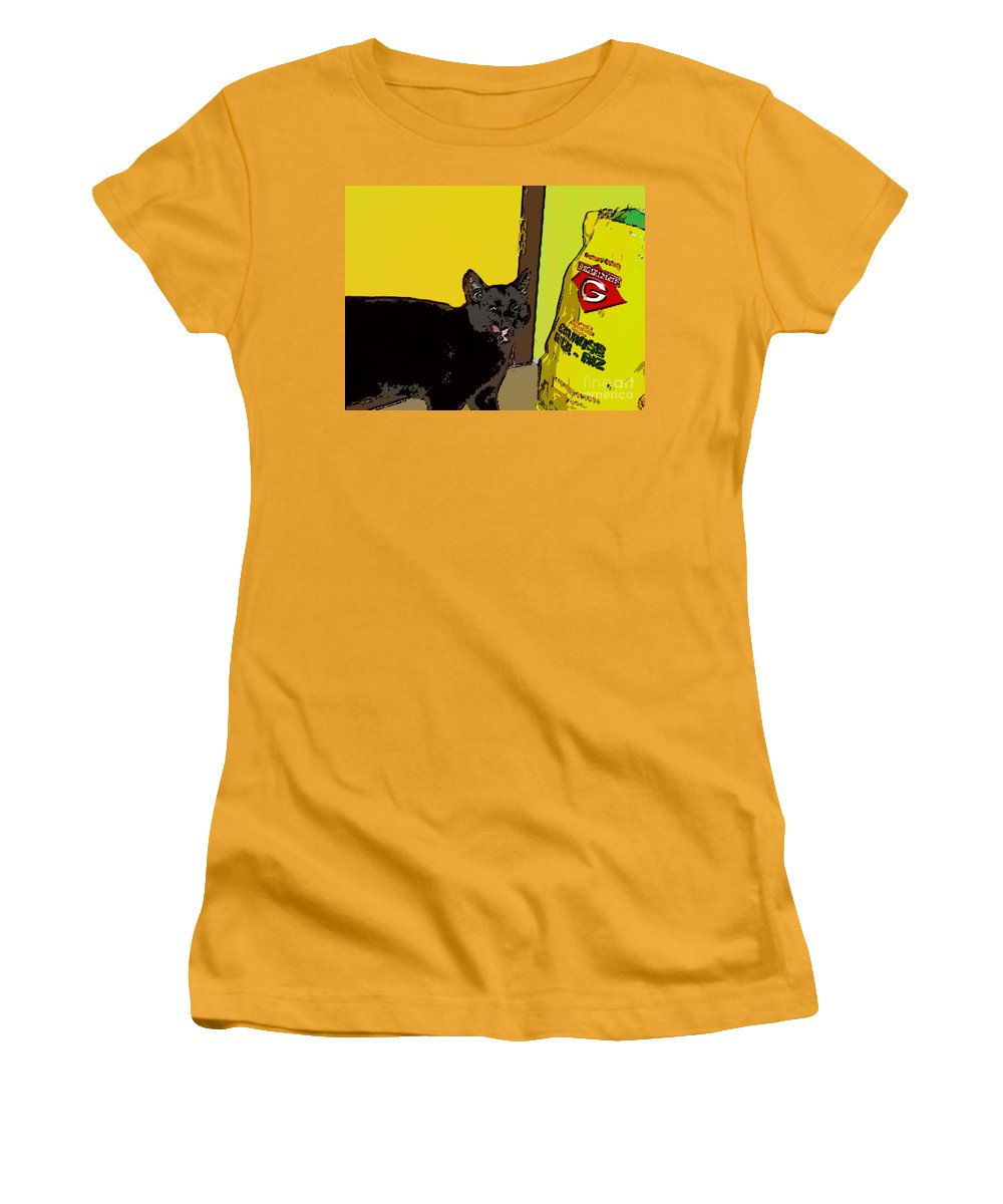 Photograph Cat Black Rice Yellow Critter Green Red Women's T-Shirt (Athletic Fit) featuring the photograph Cat And Rice by Seon-Jeong Kim