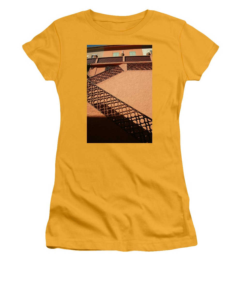 Stairs Women's T-Shirt (Athletic Fit) featuring the photograph Cerbre France Stairs by Minaz Jantz