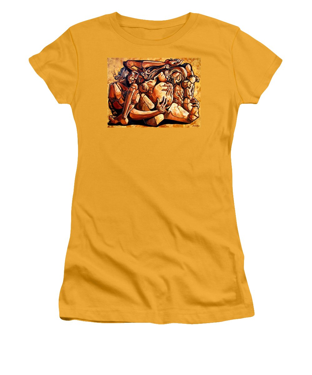 Surrealism Women's T-Shirt (Athletic Fit) featuring the painting Chaos After The News by Darwin Leon