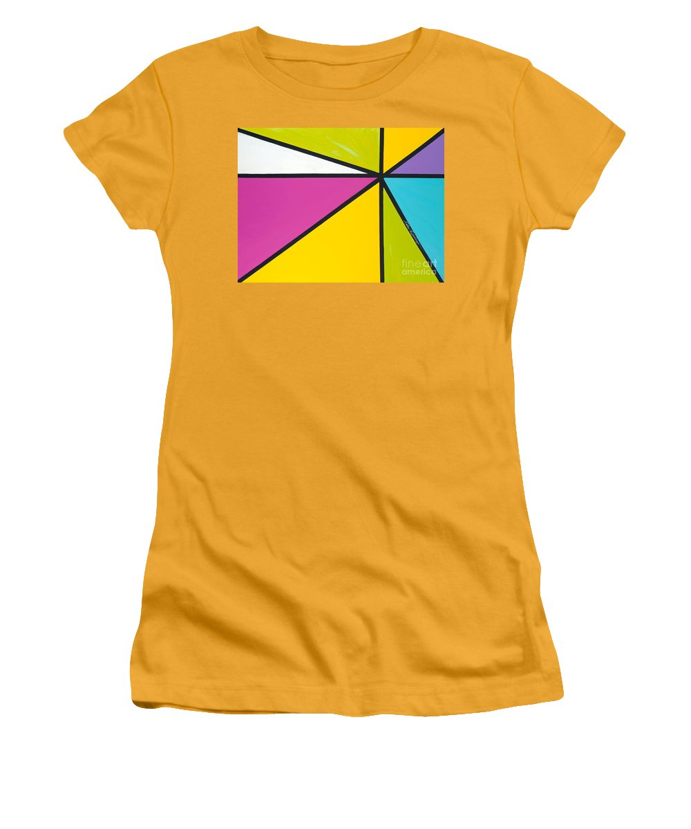Lines Women's T-Shirt (Athletic Fit) featuring the painting Convergence by Nadine Rippelmeyer