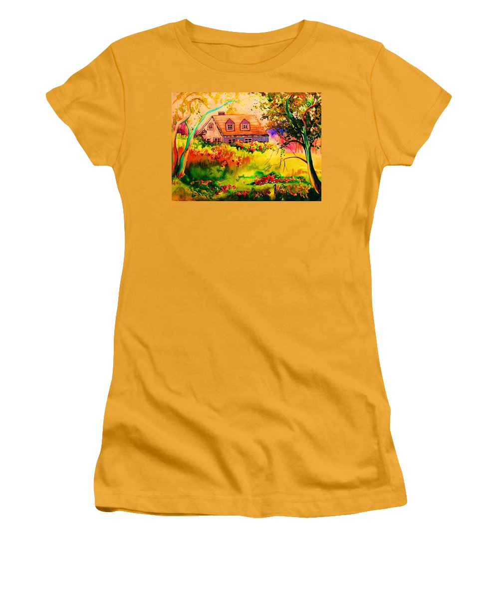 Maine Countryscene Women's T-Shirt (Athletic Fit) featuring the painting Cottage In Maine by Carole Spandau