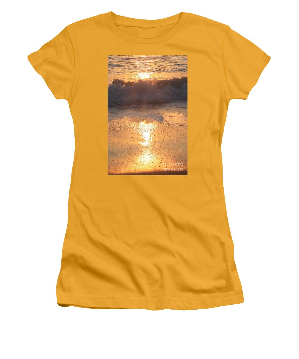 Waves Women's T-Shirt (Athletic Fit) featuring the photograph Crashing Wave At Sunrise by Nadine Rippelmeyer