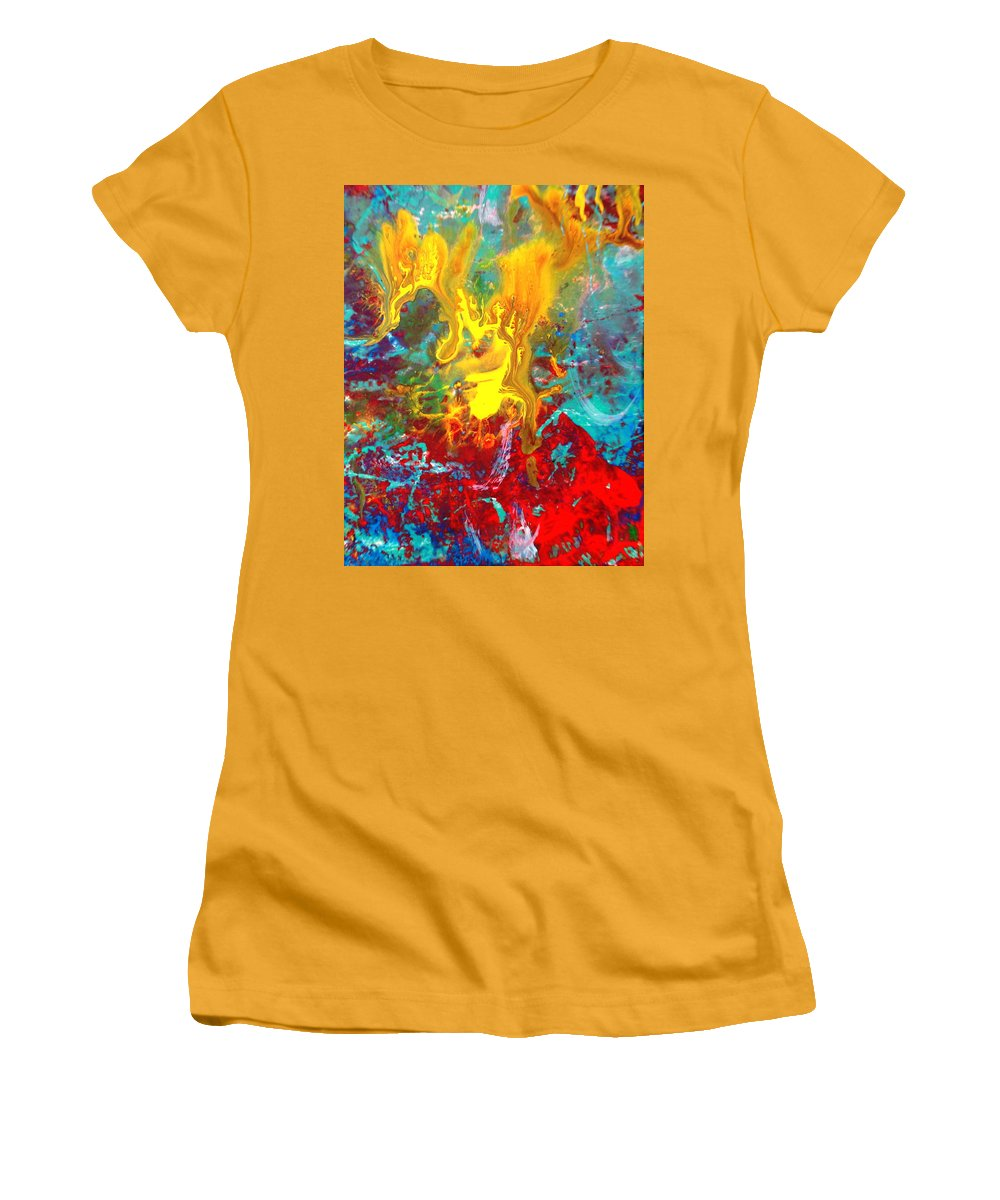 Abstract Women's T-Shirt (Athletic Fit) featuring the painting Dawn Of The Universe by Natalie Holland