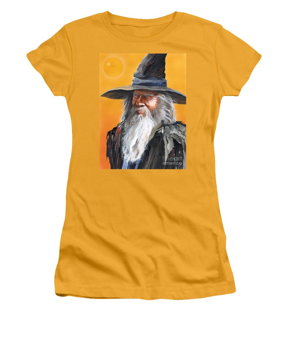 Fantasy Art Women's T-Shirt (Athletic Fit) featuring the painting Daydream Wizard by J W Baker