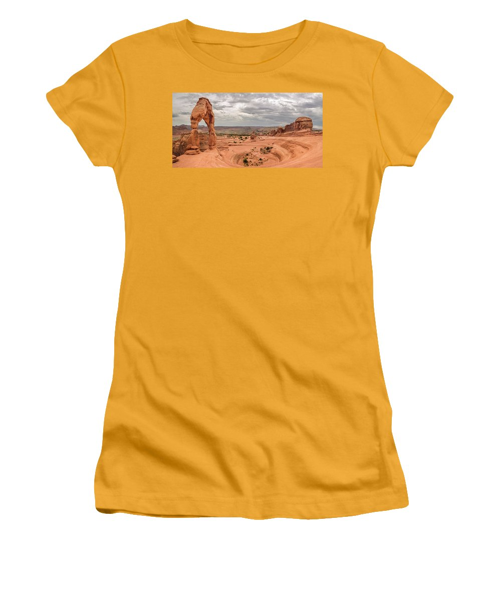 3scape Photos Women's T-Shirt (Athletic Fit) featuring the photograph Delicate Arch Panoramic by Adam Romanowicz