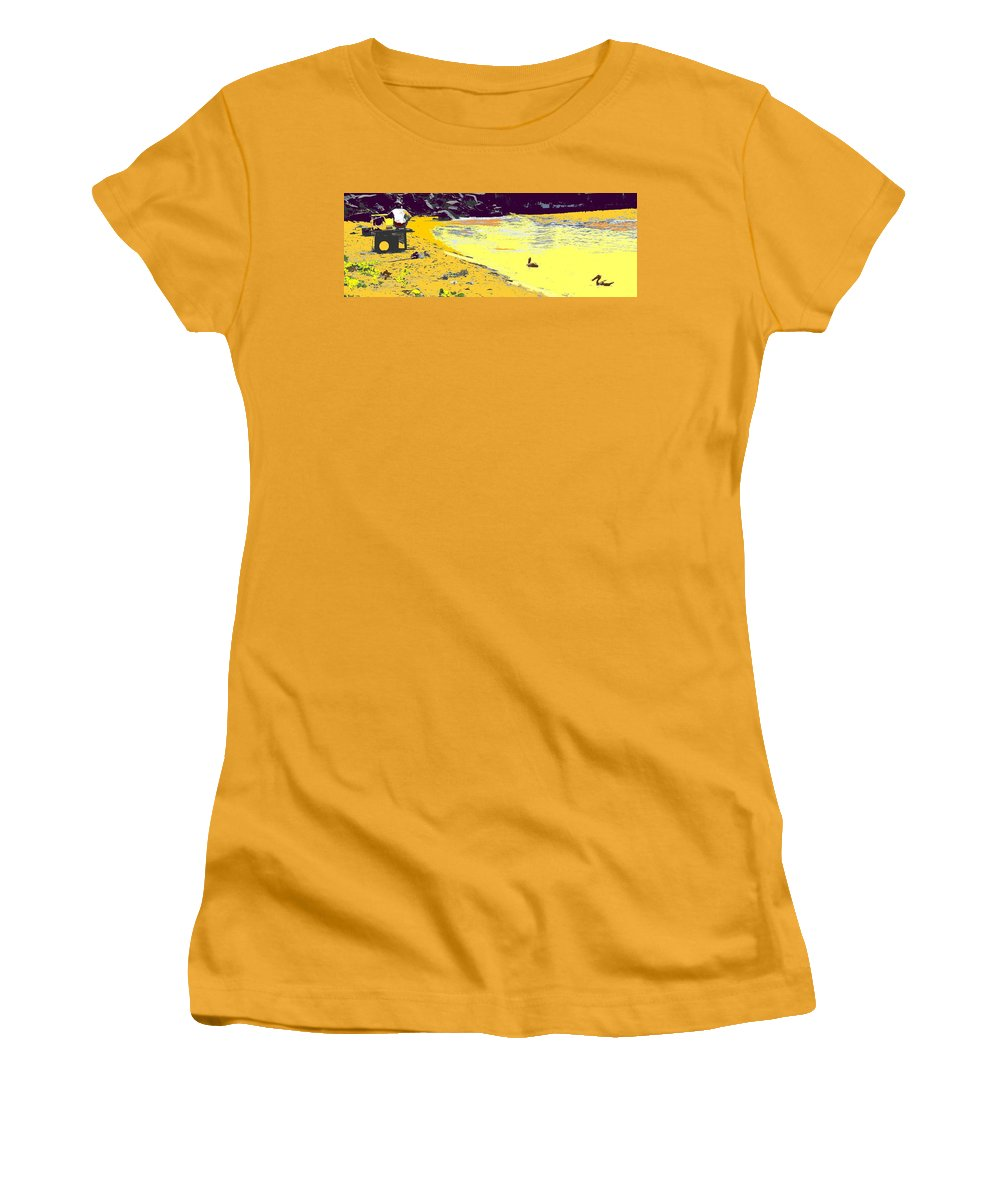 St Kitts Women's T-Shirt (Athletic Fit) featuring the photograph Feeding The Pelicans by Ian MacDonald