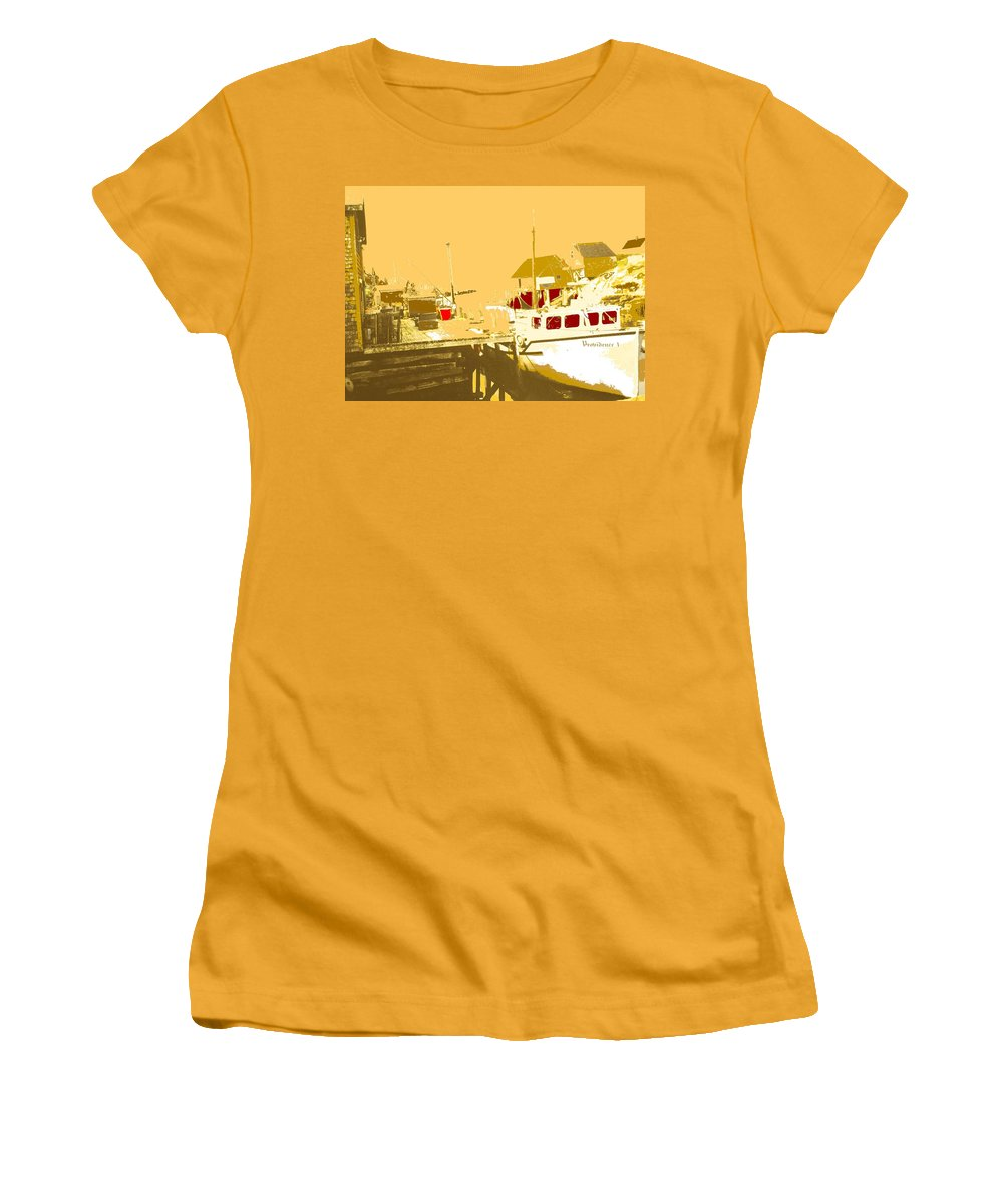 Red Women's T-Shirt (Athletic Fit) featuring the photograph Fishing Boat At The Dock by Ian MacDonald