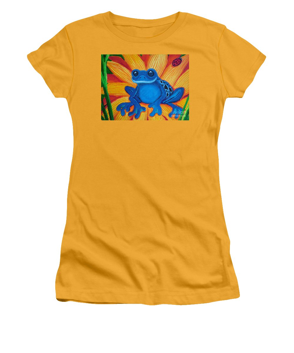 Frog And Flower Painting Women's T-Shirt (Athletic Fit) featuring the painting Frog And Lady Bug by Nick Gustafson
