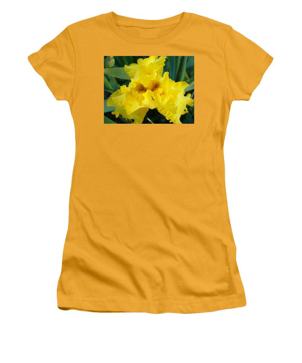 �irises Artwork� Women's T-Shirt (Athletic Fit) featuring the photograph Golden Yellow Iris Flower Garden Irises Flora Art Prints Baslee Troutman by Baslee Troutman