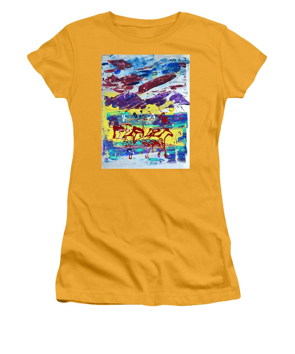 Horses Grazing Women's T-Shirt (Athletic Fit) featuring the painting Green Pastures And Purple Mountains by J R Seymour