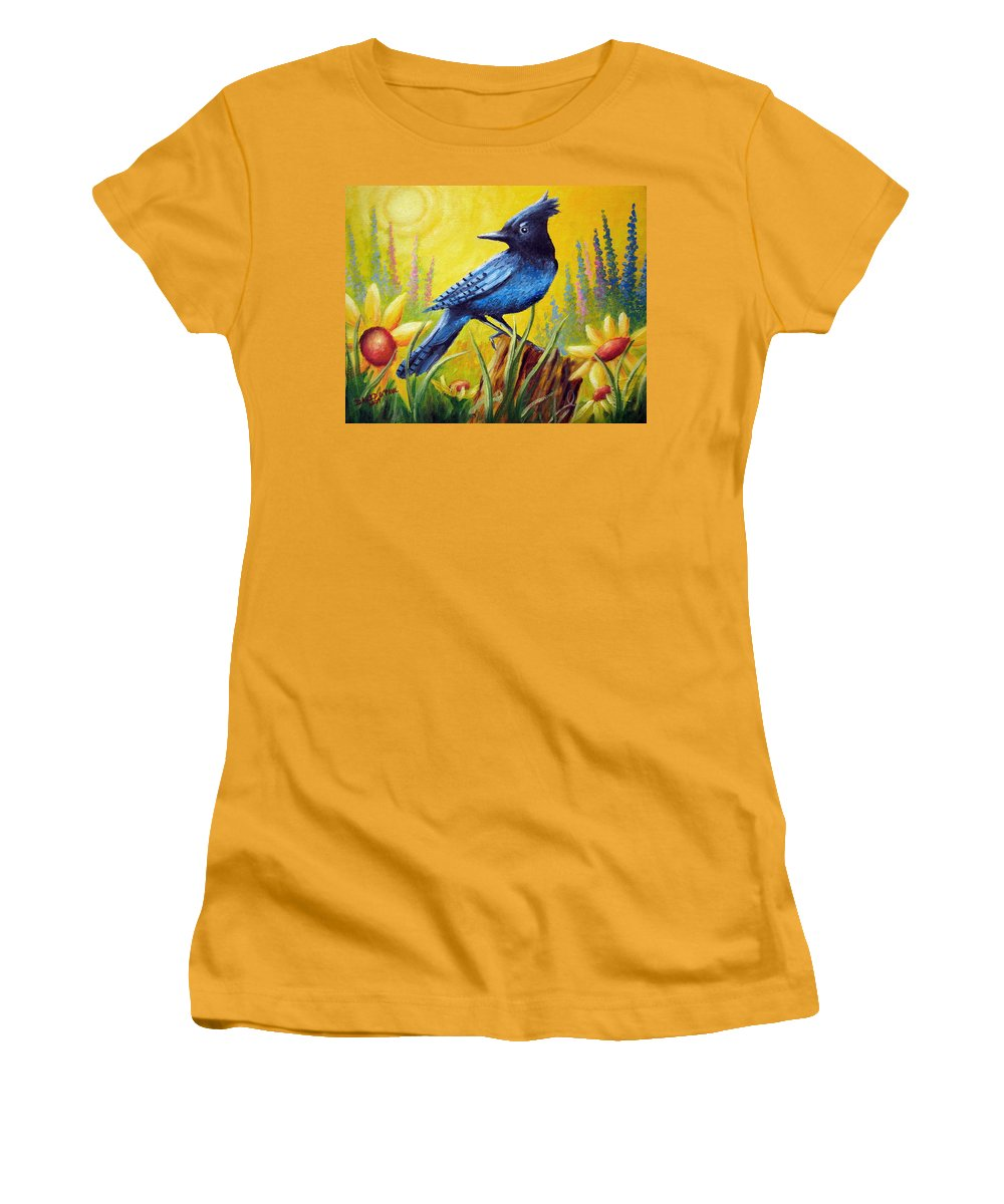 Bird Women's T-Shirt (Athletic Fit) featuring the painting Greeting The Day by David G Paul