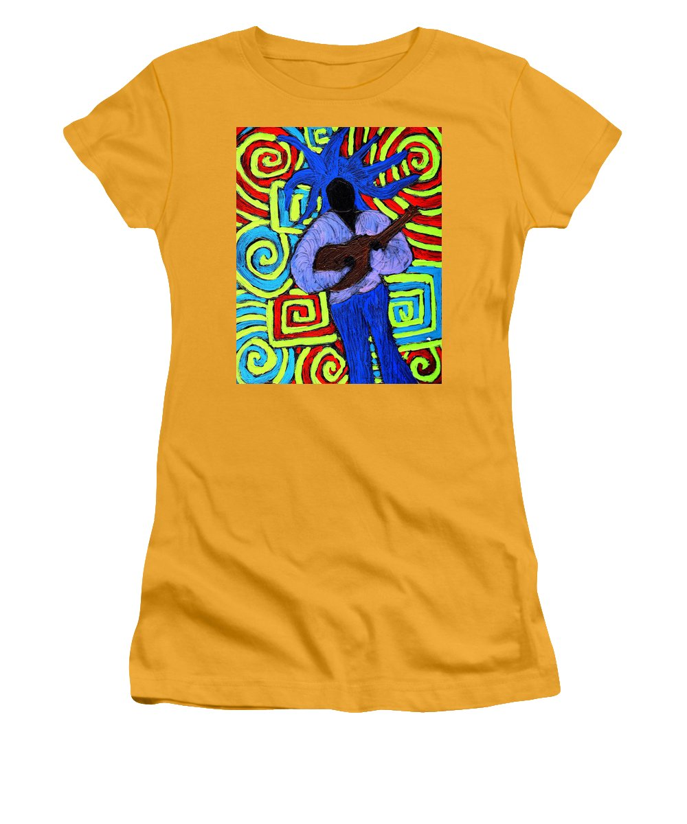 Music Women's T-Shirt (Athletic Fit) featuring the painting Guitar Solo by Wayne Potrafka