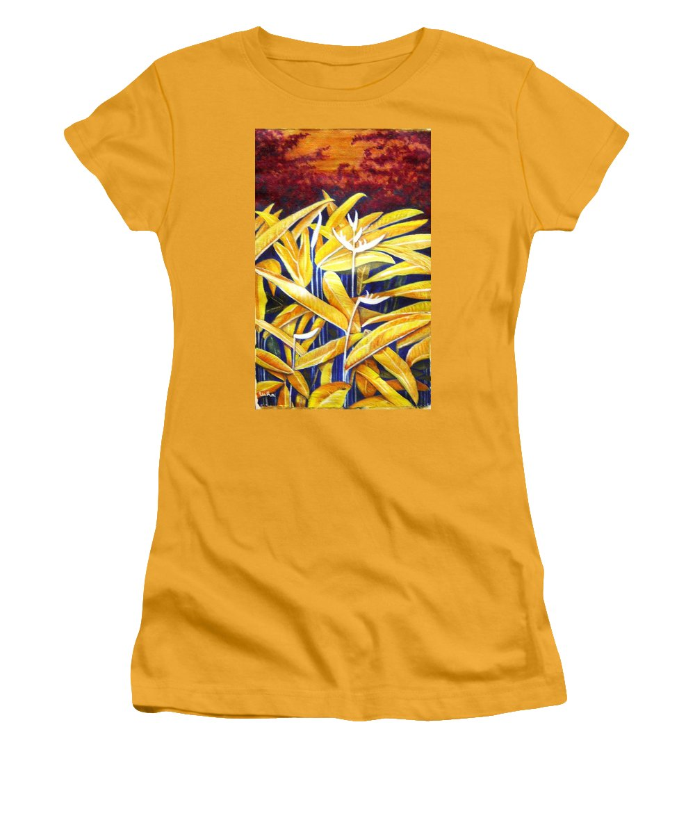 Heliconia Women's T-Shirt (Athletic Fit) featuring the painting Heliconia by Usha Shantharam