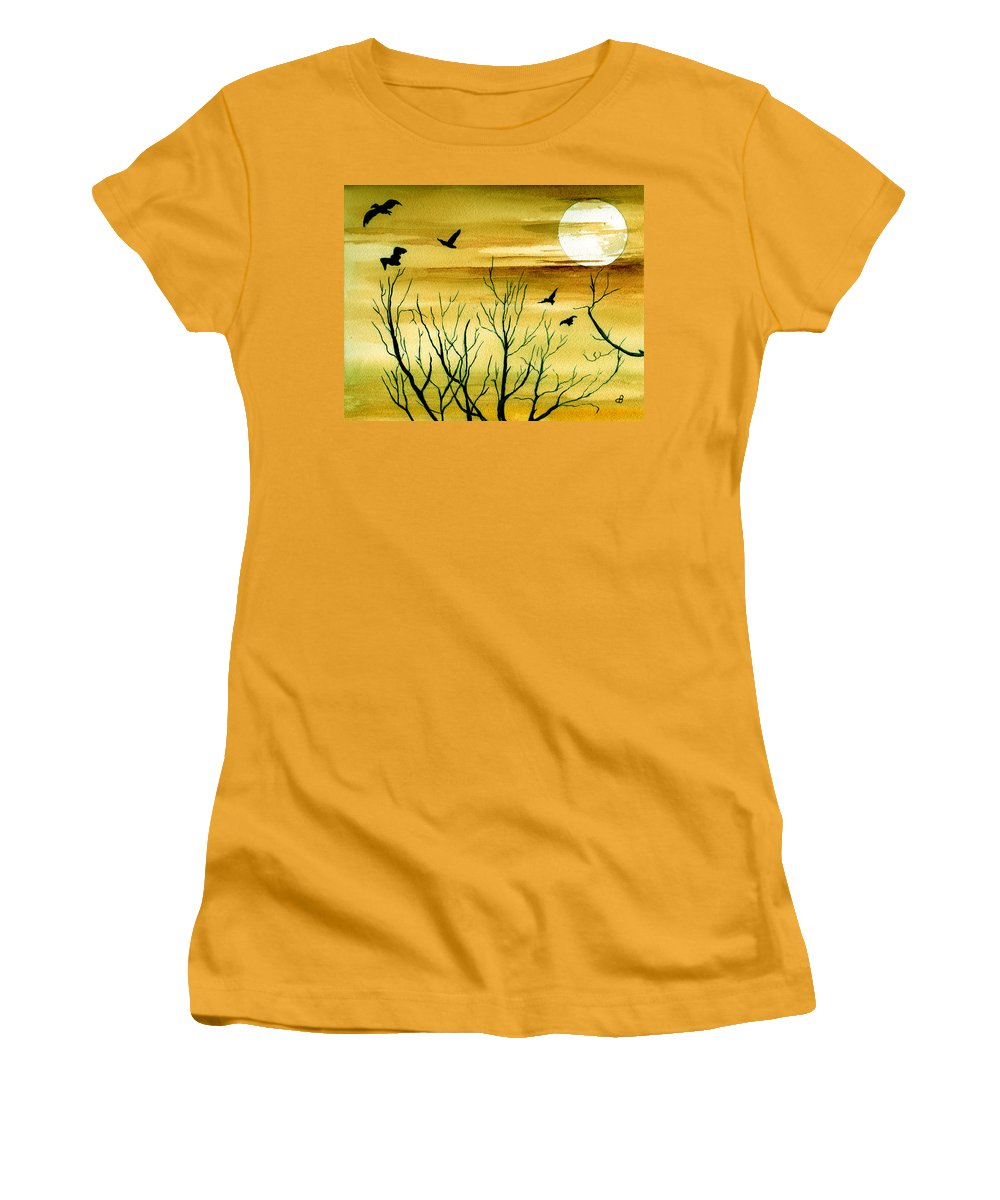 Landscape Watercolor Birds Ravens Crows Trees Sun Sunset Sky Clouds Women's T-Shirt (Athletic Fit) featuring the painting Homeward by Brenda Owen