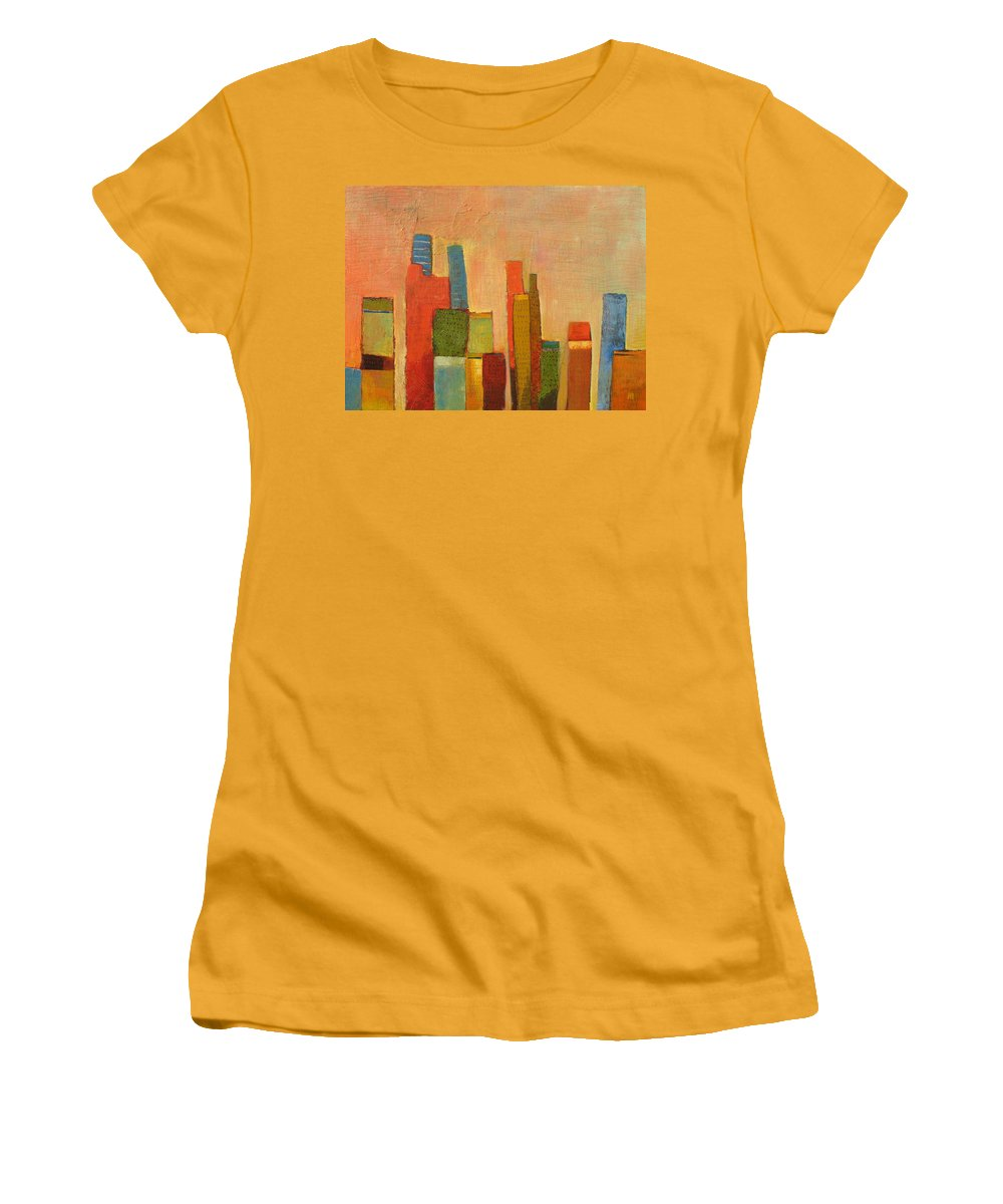 Abstract Cityscape Women's T-Shirt (Athletic Fit) featuring the painting Hot Manhattan by Habib Ayat