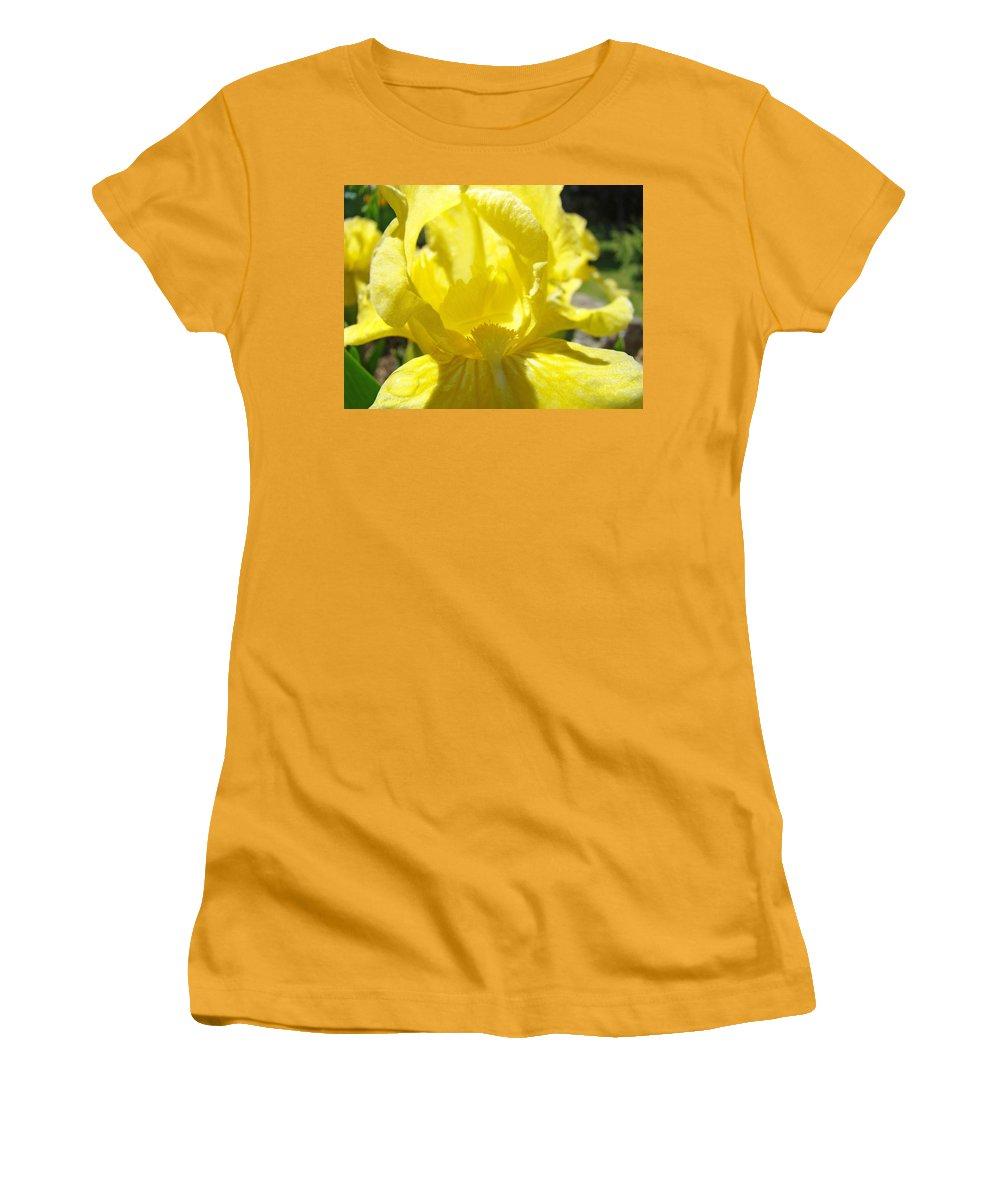 �irises Artwork� Women's T-Shirt (Athletic Fit) featuring the photograph Iris Flower Yellow Macro Close Up Irises 30 Sunlit Iris Art Print Baslee Troutman by Baslee Troutman