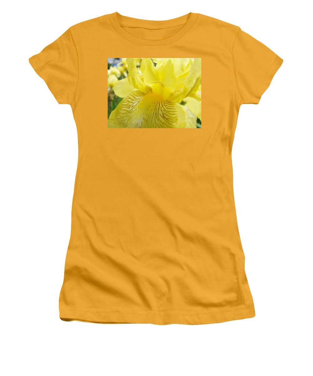 �irises Artwork� Women's T-Shirt (Athletic Fit) featuring the photograph Irises Yellow Brown Iris Flowers Irises Art Prints Baslee Troutman by Baslee Troutman