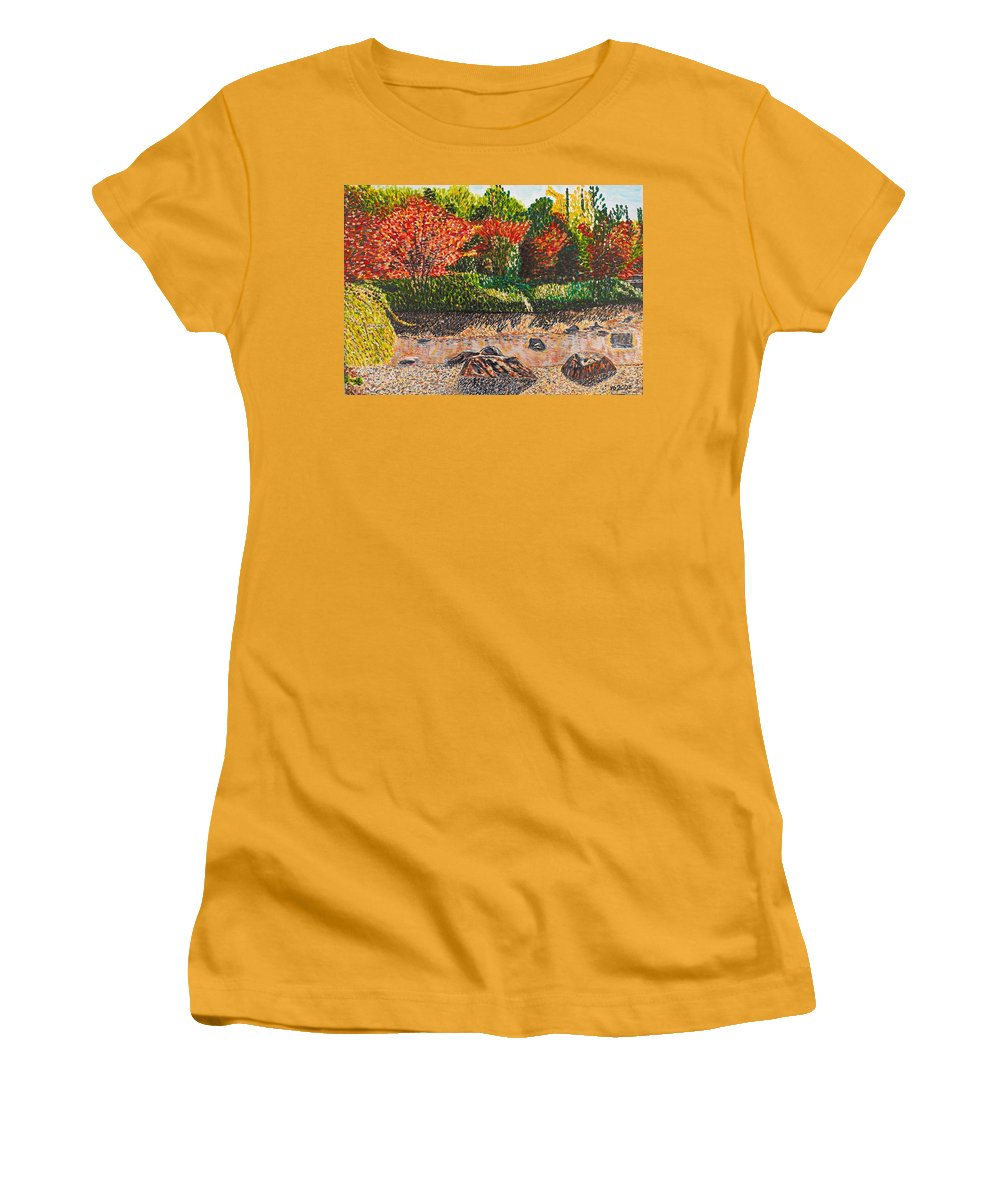 Landscape Women's T-Shirt (Athletic Fit) featuring the painting Japanese Maple Trees At The Creek by Valerie Ornstein