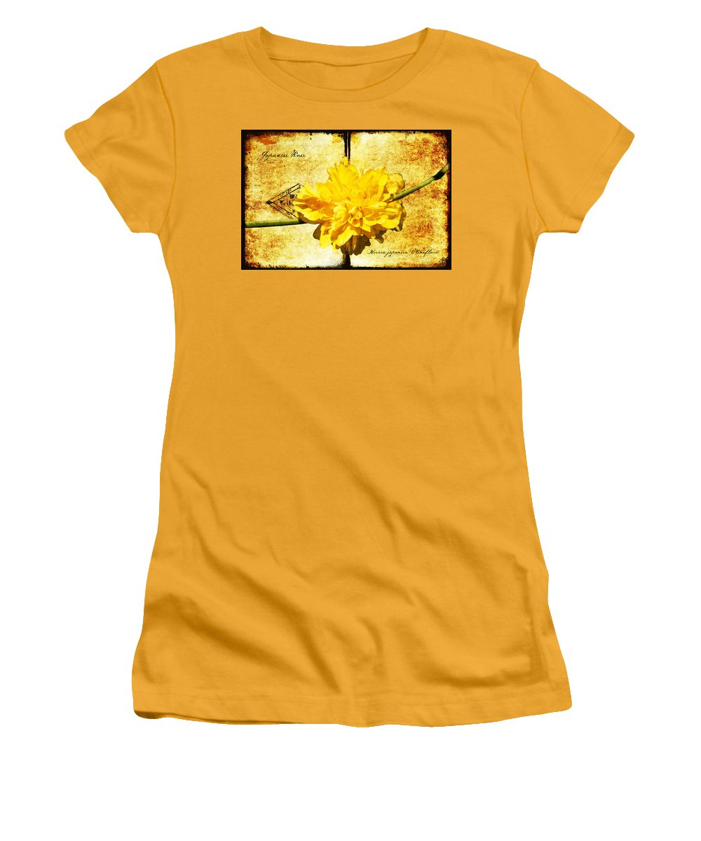 Kerria Women's T-Shirt (Athletic Fit) featuring the digital art Japanese Rose by Teresa Mucha