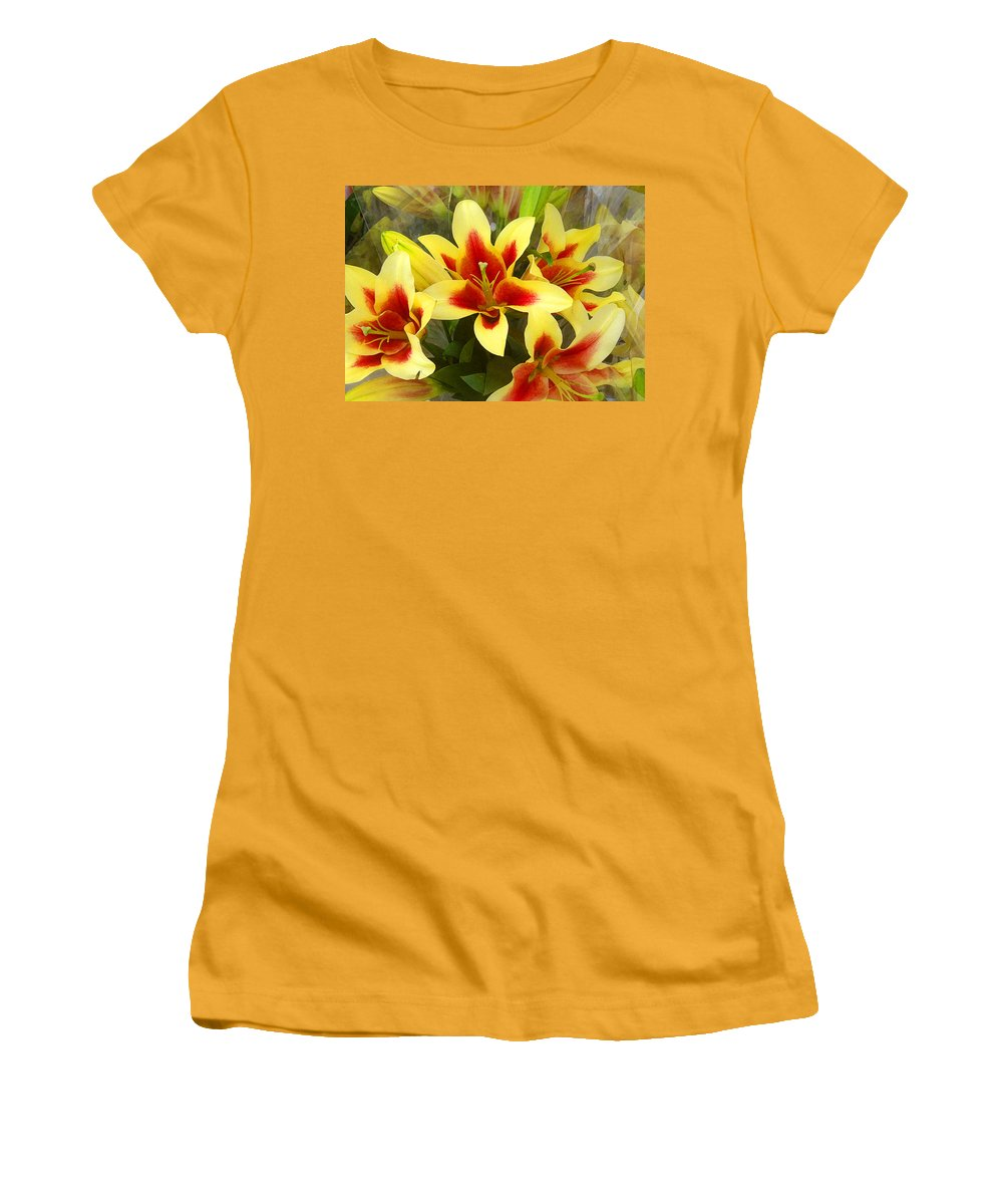 Spring Women's T-Shirt (Athletic Fit) featuring the painting Lilies by Amy Vangsgard
