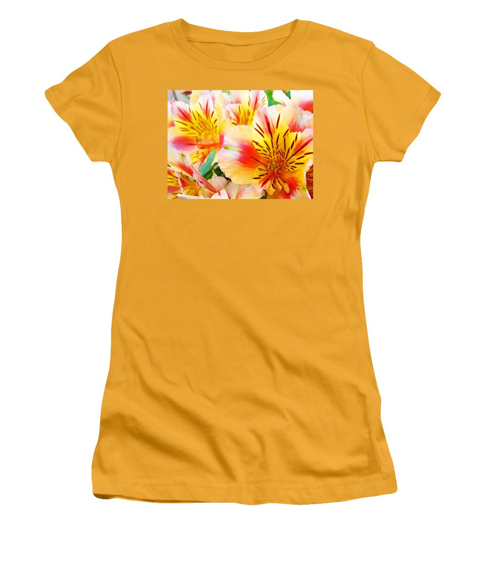 Lilies Women's T-Shirt (Athletic Fit) featuring the photograph Lilies Art Prints Pink Yellow Lily Flowers 1 Giclee Prints Baslee Troutman by Baslee Troutman