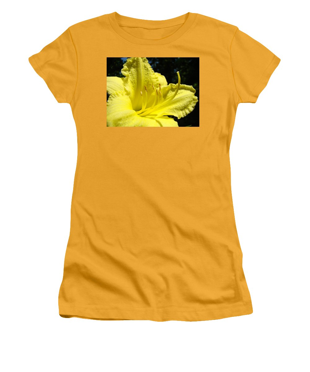 Lilies Women's T-Shirt (Athletic Fit) featuring the photograph Lily Flower Artwork Yellow Lilies 1 Giclee Art Prints Baslee Troutman by Baslee Troutman