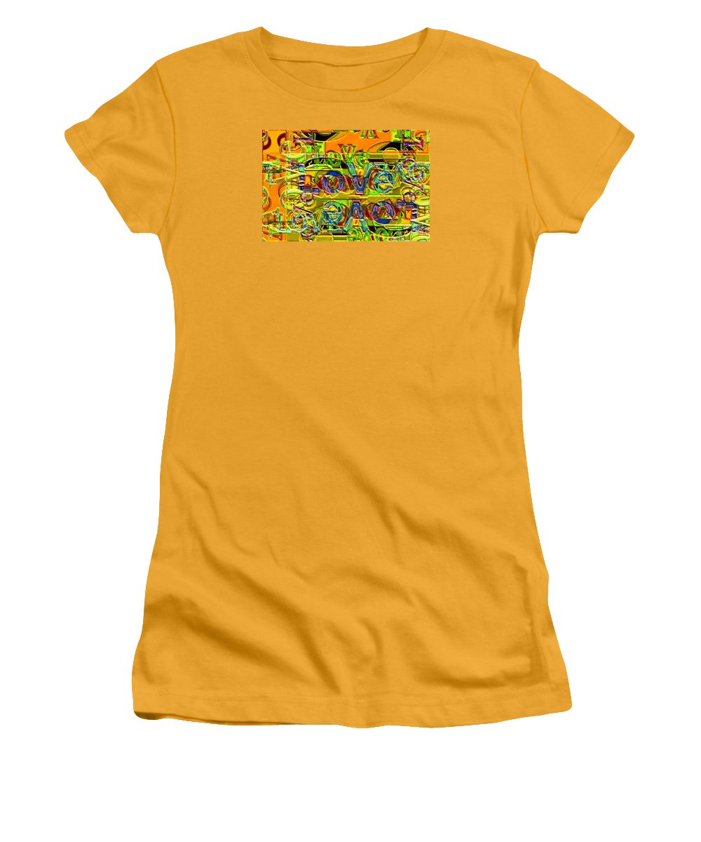 Abstract Women's T-Shirt (Athletic Fit) featuring the digital art Love Contest by Ron Bissett