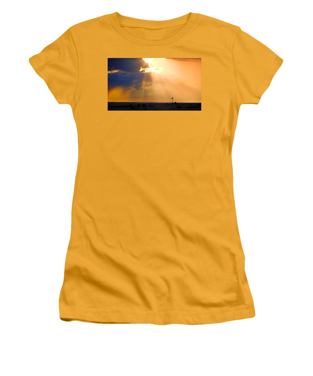Skip Hunt Women's T-Shirt (Athletic Fit) featuring the photograph Marfa Windmill 1 by Skip Hunt
