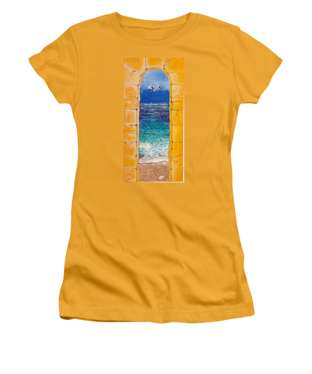 Beach Women's T-Shirt (Athletic Fit) featuring the painting Mediterranean Meditation by V Boge