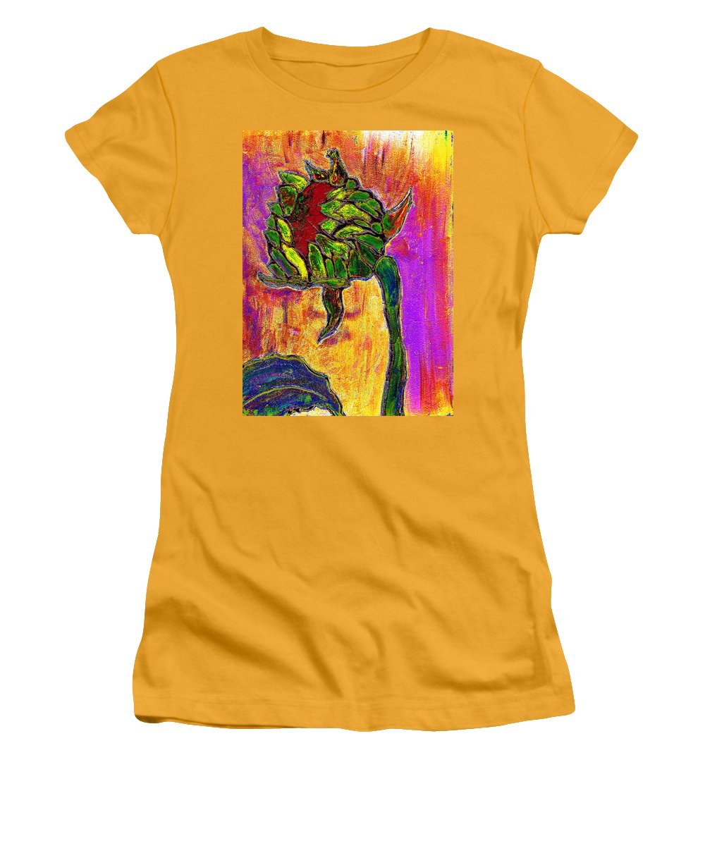 Sunflower Women's T-Shirt (Athletic Fit) featuring the painting Mornings Glow by Wayne Potrafka