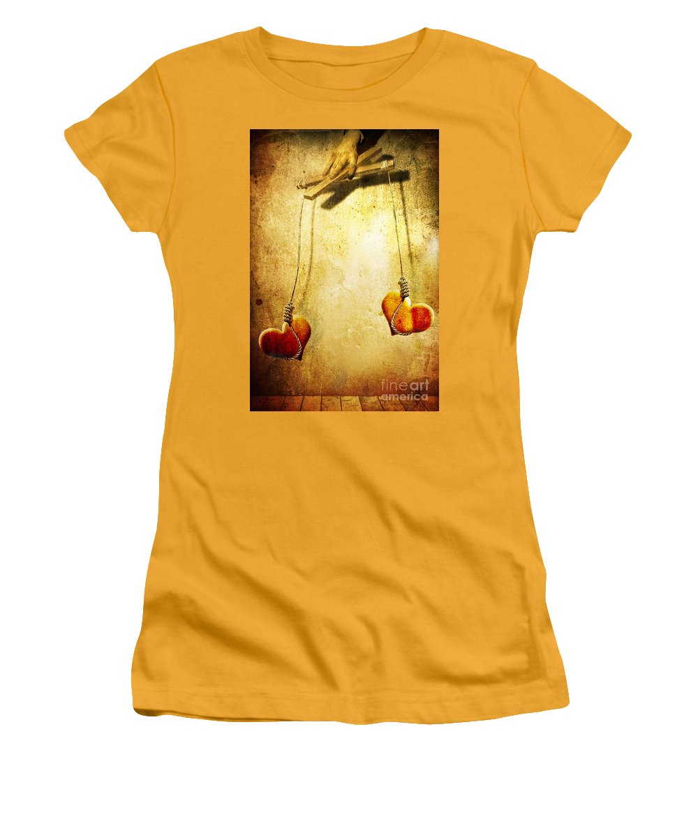Puppeteer Women's T-Shirt (Athletic Fit) featuring the painting Not Meant To Be... by Jacky Gerritsen
