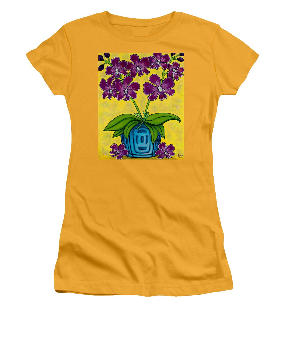 Orchids Women's T-Shirt (Athletic Fit) featuring the painting Orchid Delight by Lisa Lorenz
