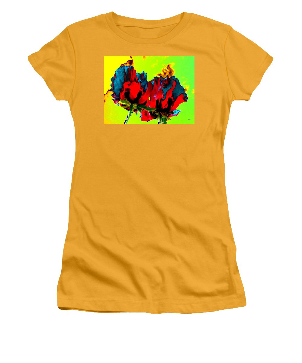 Poppies Women's T-Shirt (Athletic Fit) featuring the digital art Painted Poppies by Will Borden