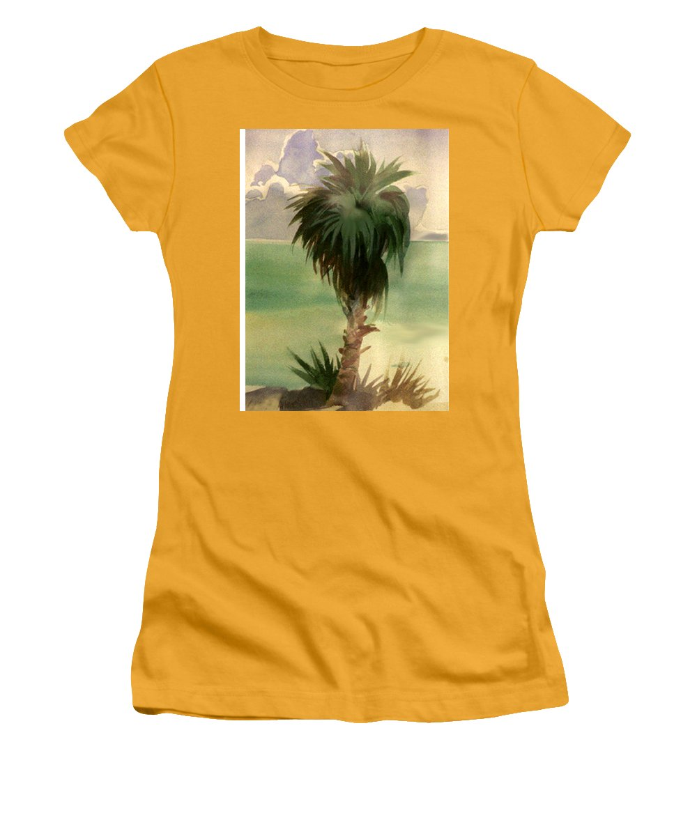 Palm Women's T-Shirt (Athletic Fit) featuring the painting Palm At Horseshoe Cove by Neal Smith-Willow