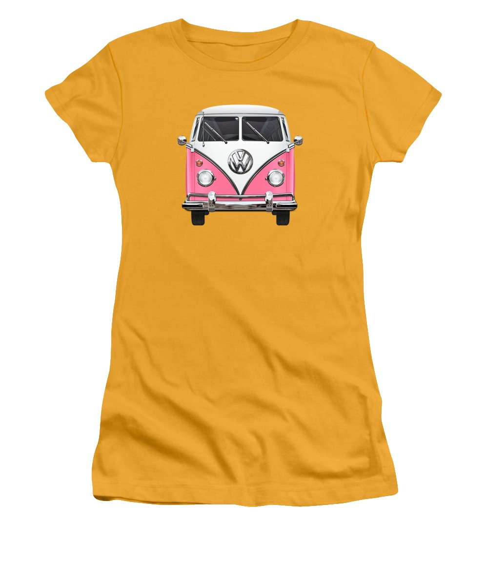 'volkswagen Type 2' Collection By Serge Averbukh Women's T-Shirt (Athletic Fit) featuring the photograph Pink And White Volkswagen T 1 Samba Bus On Yellow by Serge Averbukh