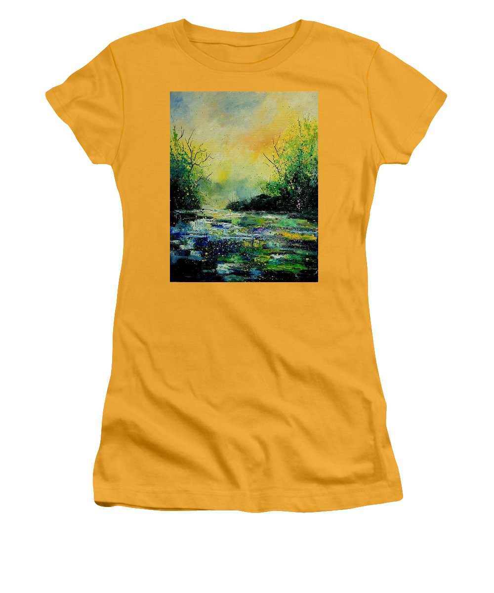 Water Women's T-Shirt (Athletic Fit) featuring the painting Pond 459060 by Pol Ledent