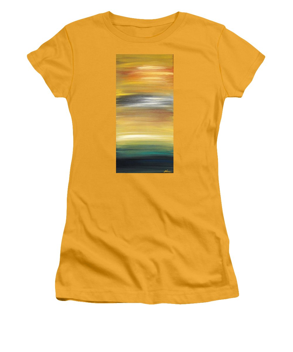 Waves Women's T-Shirt (Athletic Fit) featuring the painting Pond by Todd Hoover