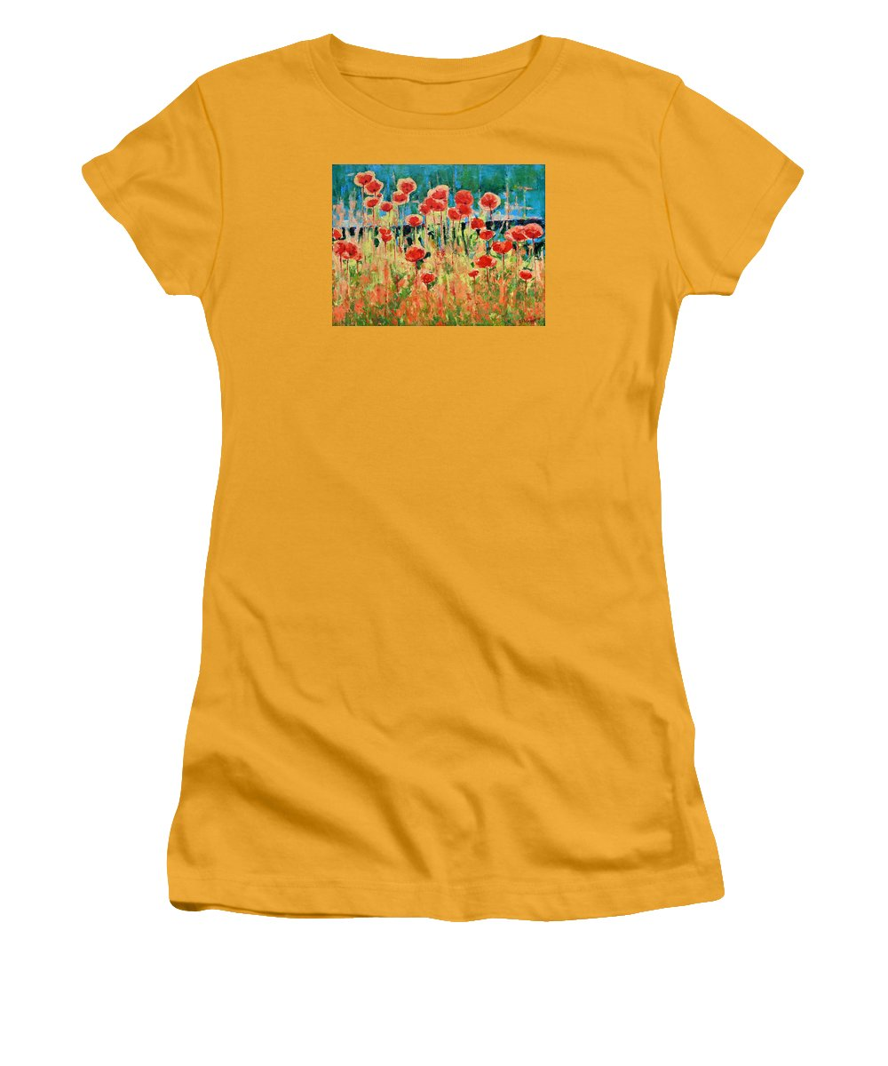 Poppies Women's T-Shirt (Athletic Fit) featuring the painting Poppies And Traverses 2 by Iliyan Bozhanov