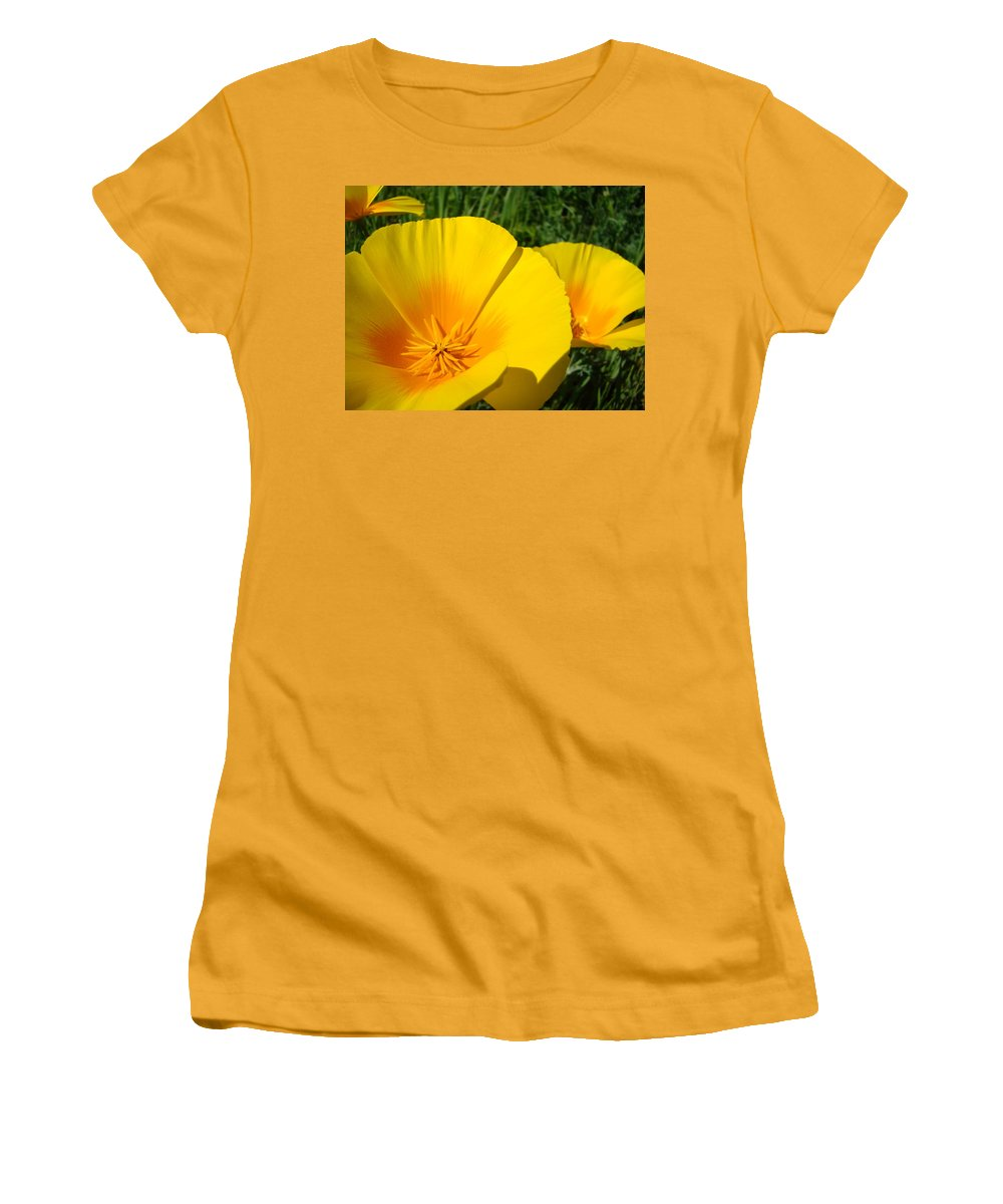 �poppies Artwork� Women's T-Shirt (Athletic Fit) featuring the photograph Poppies Art Poppy Flowers 4 Golden Orange California Poppies by Baslee Troutman