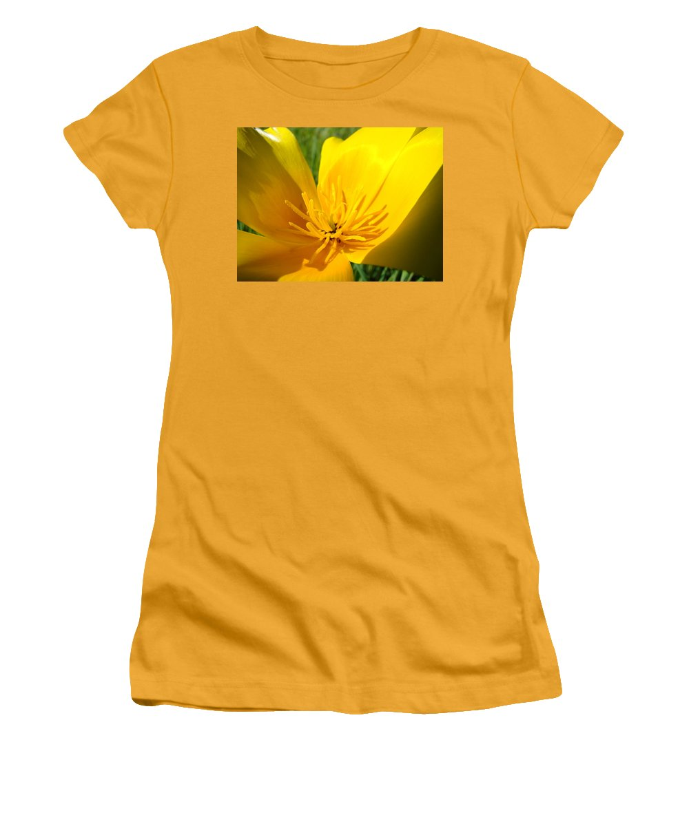 �poppies Artwork� Women's T-Shirt (Athletic Fit) featuring the photograph Poppy Flower Close Up Macro 20 Poppies Meadow Giclee Art Prints Baslee Troutman by Baslee Troutman