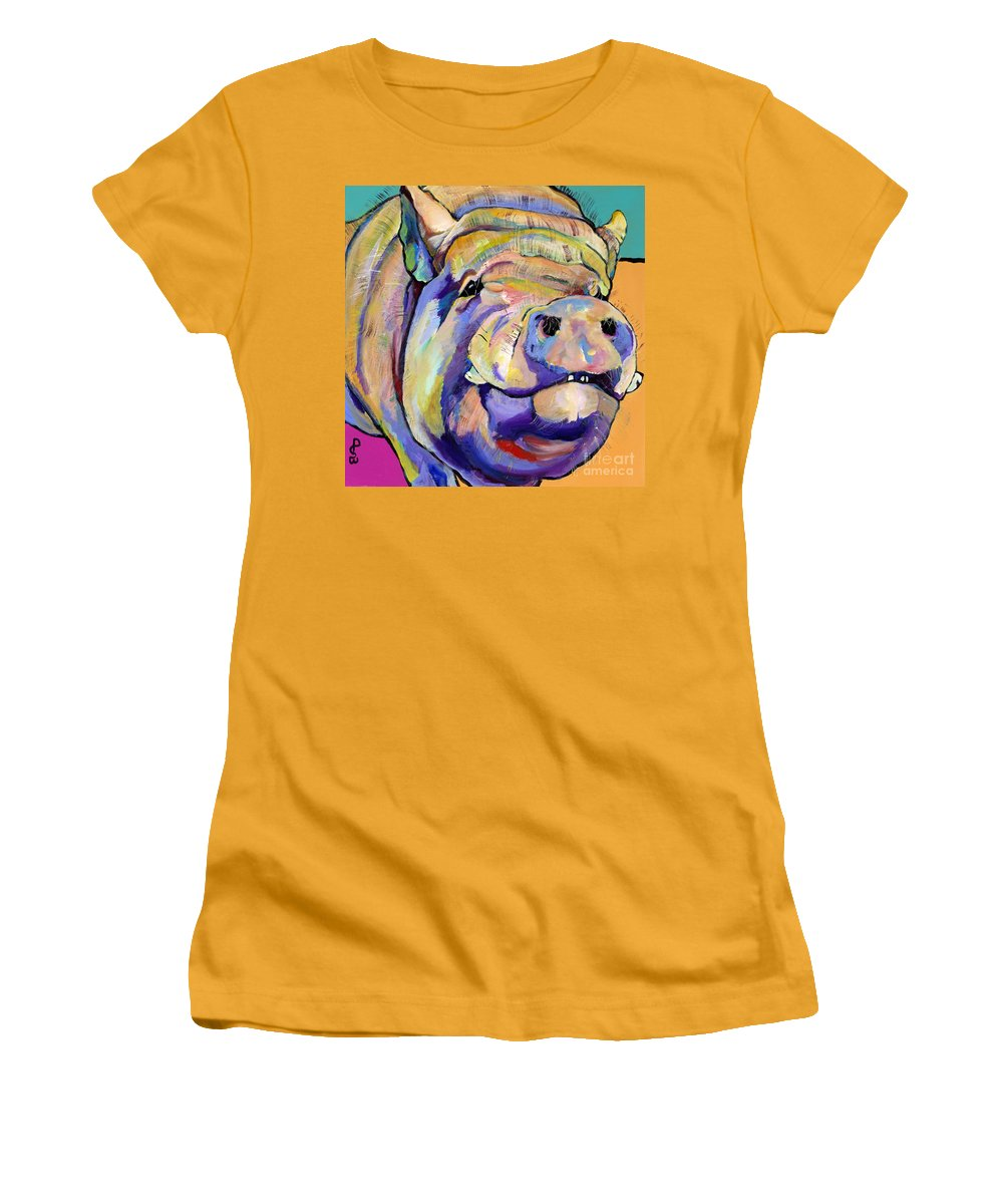 Pig Prints Women's T-Shirt (Athletic Fit) featuring the painting Potbelly by Pat Saunders-White