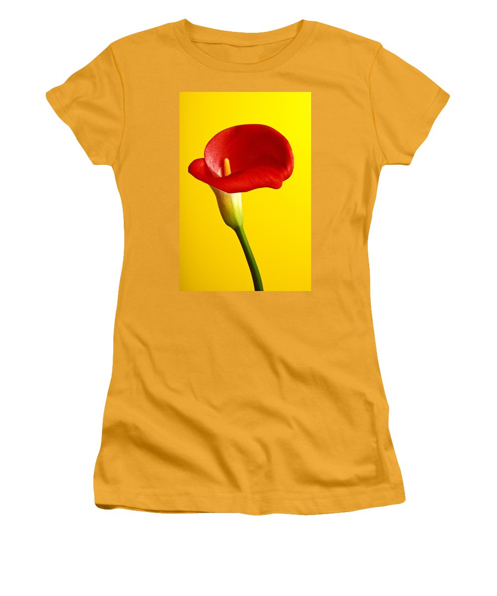 Red Yellow Flower Flowers Calla Lily Lilies Stem Yellow Graphic Design Bright Color Colors Colour Colours Colorful Distinctive Lilum Lilys Arum Bulb Close Up Detail Details Beauty Nature Beautiful Blossom Delicate Fragile Growing Vertical Plant Plants Concepts Decoration Bloom Blooming Botanical Floral Horticulture Floriculture Blossoming Flowering Petal Serenity Stamen Majestic Grow Unusual Women's T-Shirt (Athletic Fit) featuring the photograph Red Calla Lilly by Garry Gay