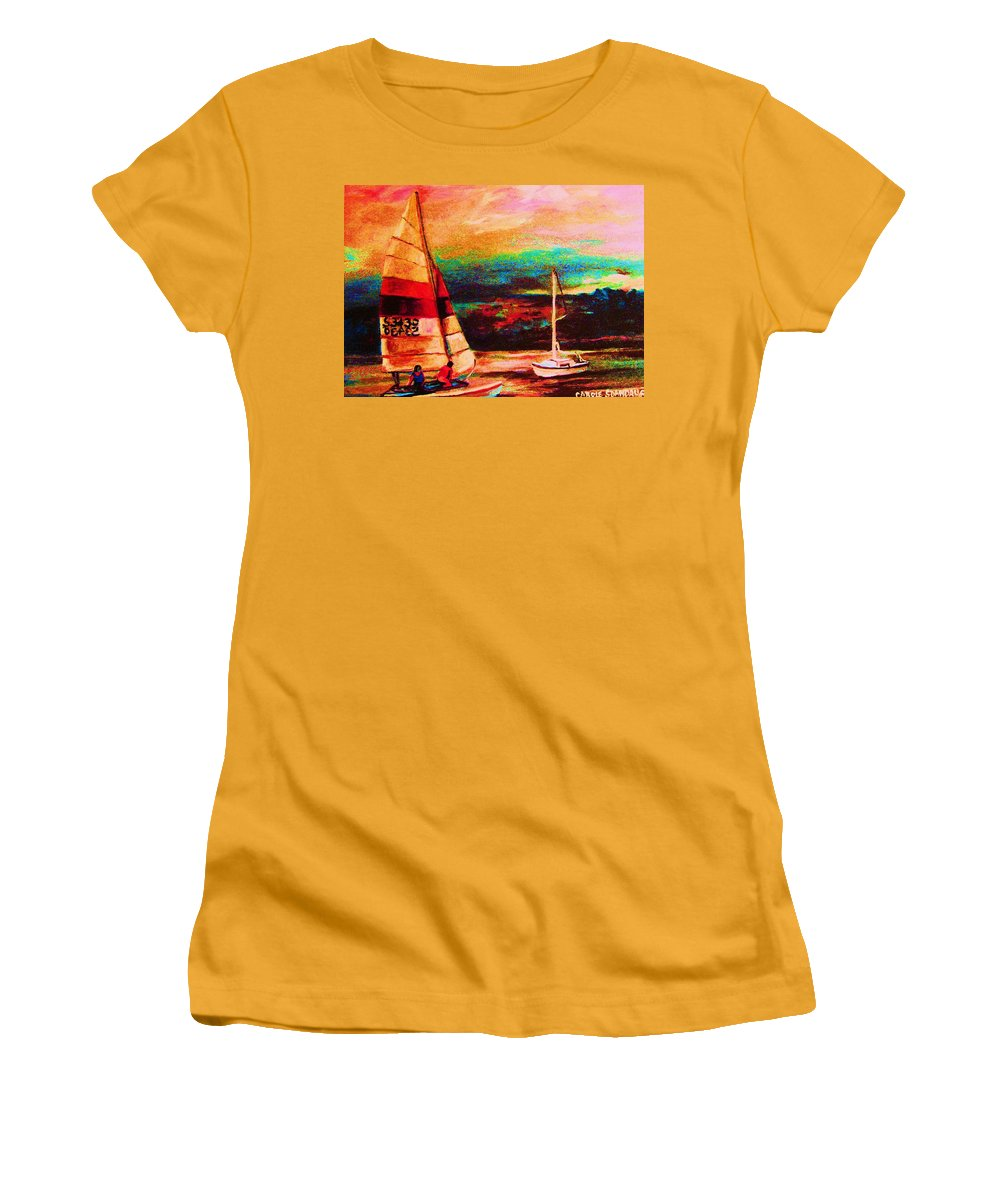 Sailing Women's T-Shirt (Athletic Fit) featuring the painting Red Sails In The Sunset by Carole Spandau