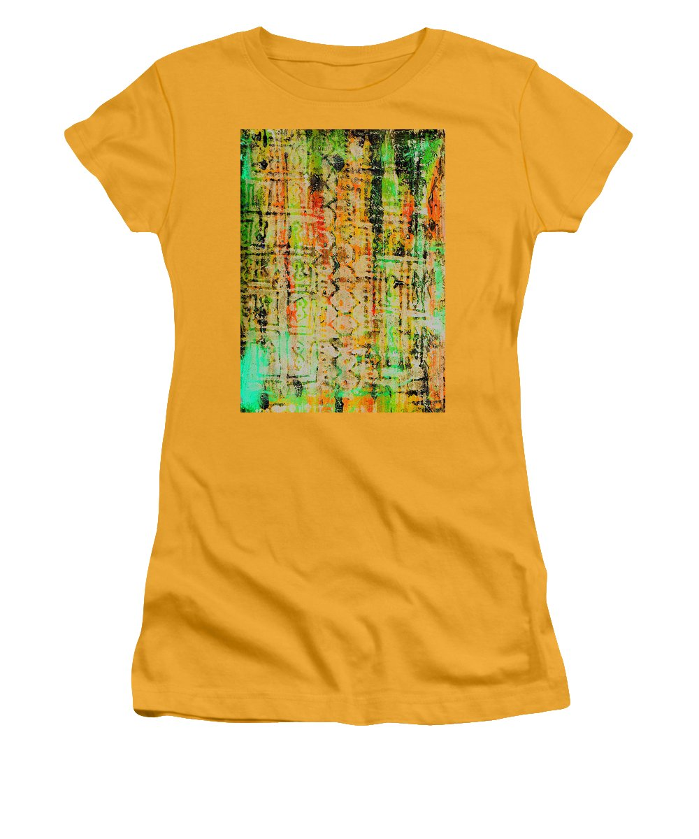 Monoprint Women's T-Shirt (Athletic Fit) featuring the painting Remnants Of The Homeland by Wayne Potrafka