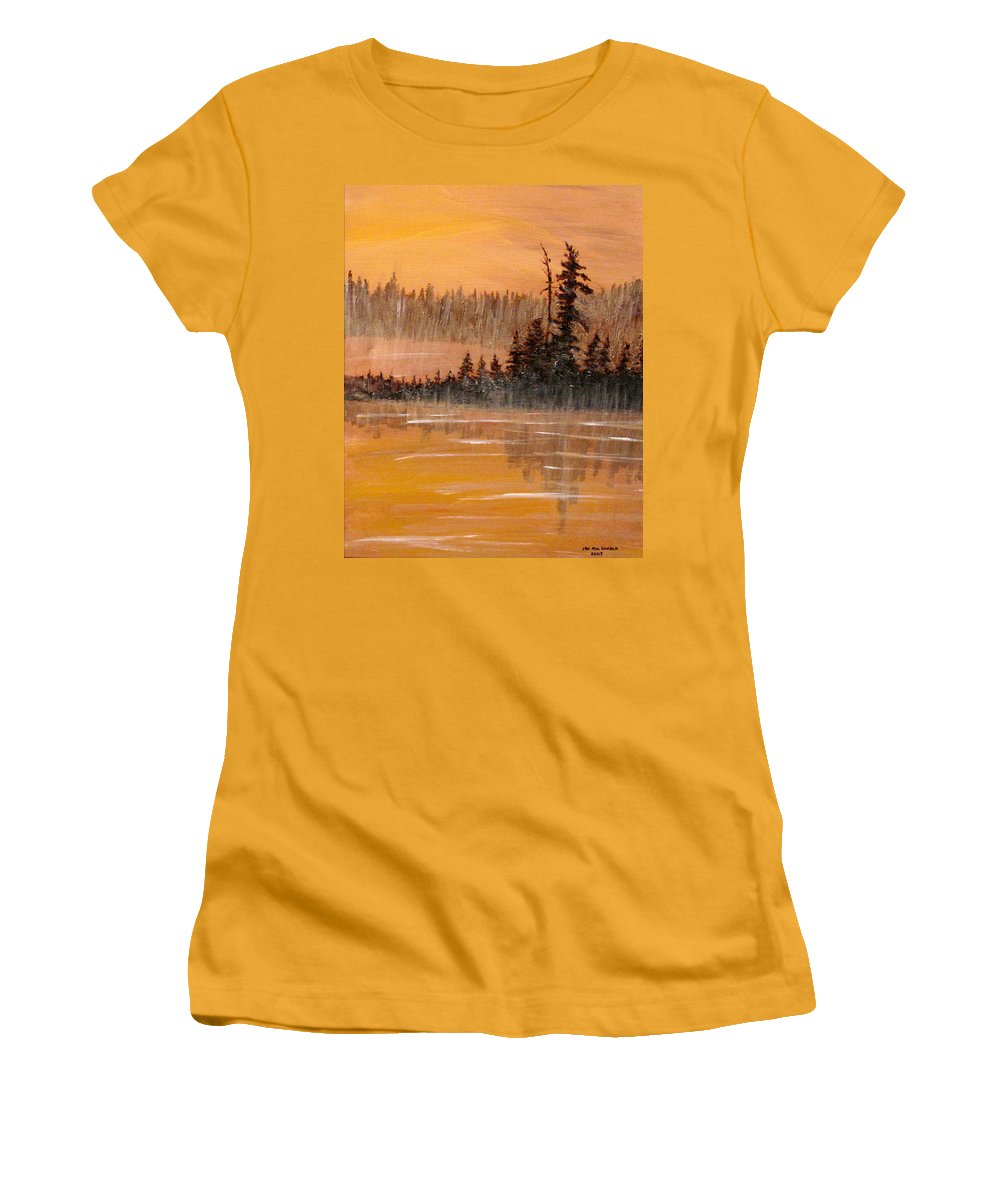 Northern Ontario Women's T-Shirt (Athletic Fit) featuring the painting Rock Lake Morning 3 by Ian MacDonald